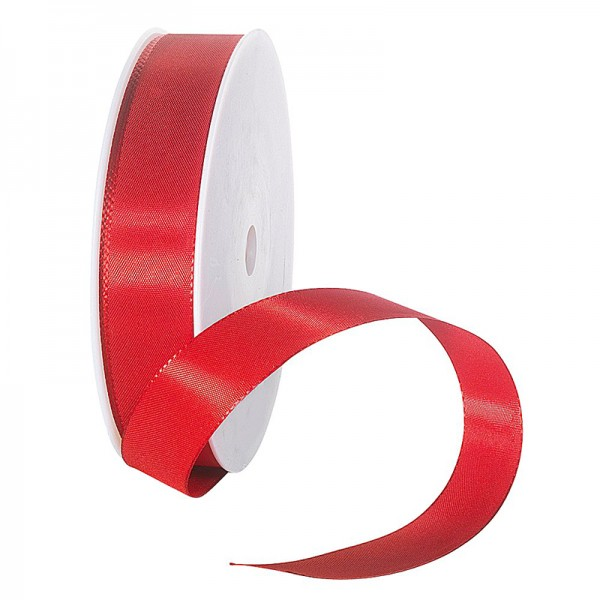 Taftband, rot: 25mm breit / 50m-Rolle, mit feiner Webkante.