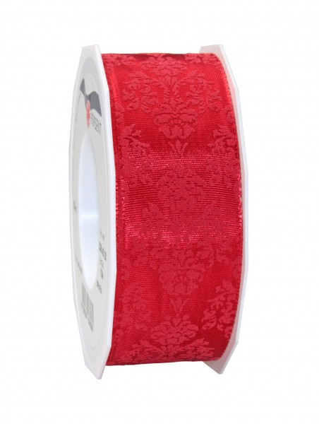 Brixen rot mit roter Ornamentbeflockung: 40mm breit / 20m-Rolle mit Drahtkante