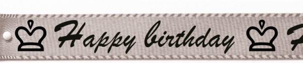 "Satinband ""Happy birthday"", silbergrau: 15mm breit / 25m-Rolle"