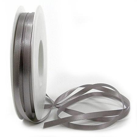 Satinband SINFINITY, silber-grau: 6mm breit / 50m-Rolle, mit feiner Webkante.