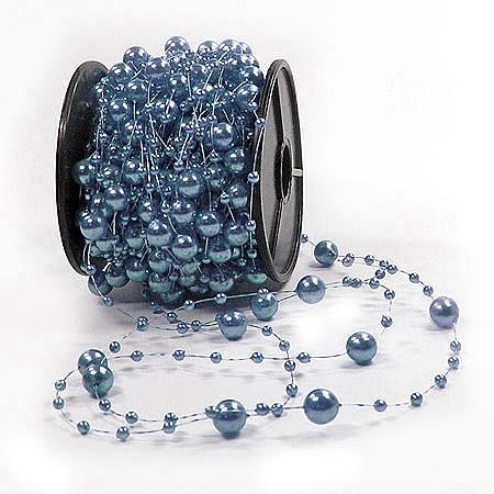 Perlenschnur, stahlblau - 8mm breit / 20m-Rolle