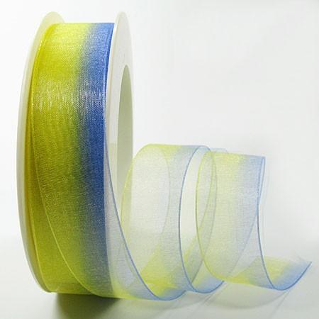 RAINBOW-Organzaband: 25mm breit / 25m-Rolle, gelb-blau.