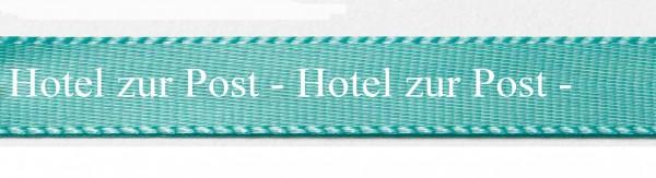 Ihre Firmenname (+Logo) auf Satinband türkis-weiss mit Classic Schrift: 15mm breit / 25m-Rolle