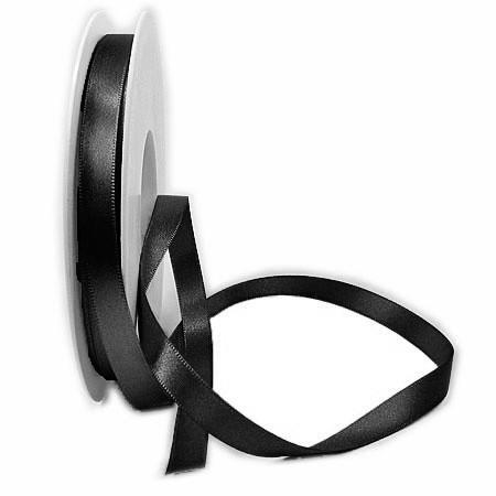 Satinband SINFINITY, schwarz: 10mm breit / 25m-Rolle, mit feiner Webkante.