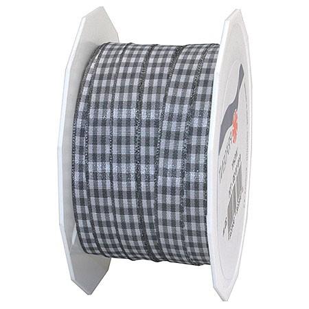 Vichy-Karoband, dunkelgrau-weiss: 10mm breit / 20m-Rolle