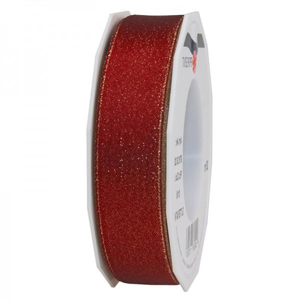 GLITTER-Satinband:25mm breit / 20m-Rolle, weinrot mit Gold-Glitzer