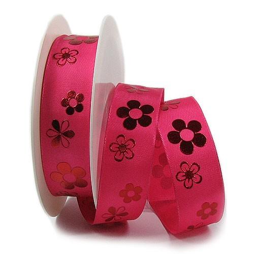 Blossom-Dekorband: 25mm breit / 25m-Rolle, pink.