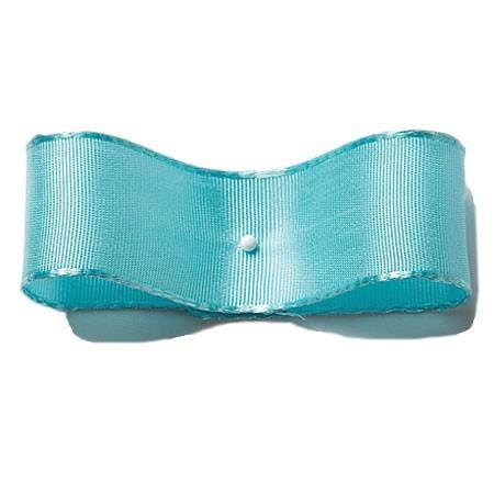 Seidenband mit Drahtkante: 38mm breit / 25m-Rolle, türkis