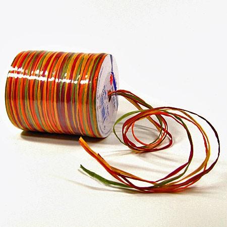 Raffia - Multi Bindebast, gelb-orange-rot-braun-grün - 50m-Rolle.