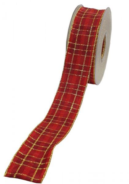 Weihnachtsband - KARO: 40mm breit / 20m-Rolle, mit Draht- und Lurex-Goldkante.