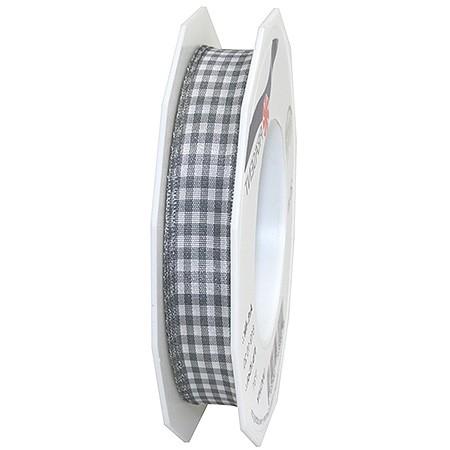 Vichy-Karoband, grau-weiss: 15mm breit / 20m-Rolle