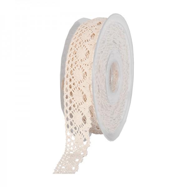 Häkelspitze-SOFT: 28mm breit / 10m-Rolle, creme