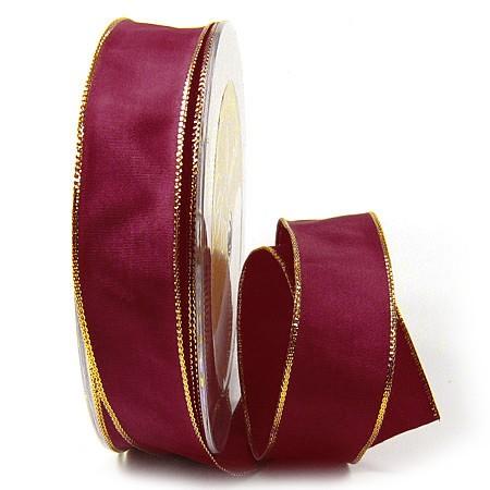 Dekoband-BASIC, weinrot-gold: 25 mm breit / 50-Meter-Rolle