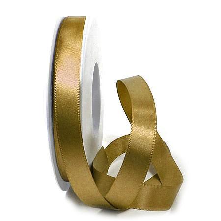 Satinband SINFINITY, gold: 15mm breit / 25m-Rolle, mit feiner Webkante.