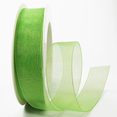 Organzaband, apfelgrün: 25mm breit / 25m-Rolle