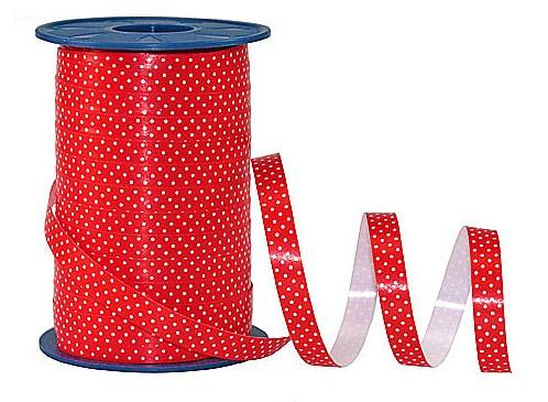 Poly-Pünktchen-Ringelband, rot-weiß - 10mm breit / 200m-Rolle