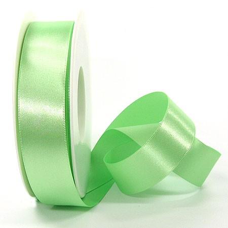 Satinband SINFINITY, hellgün: 25mm breit / 25m-Rolle, mit feiner Webkante.