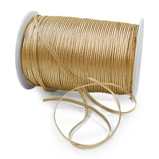 Elastik-Flachkordel Premium, gold: 3mm breit / 200m-Rolle