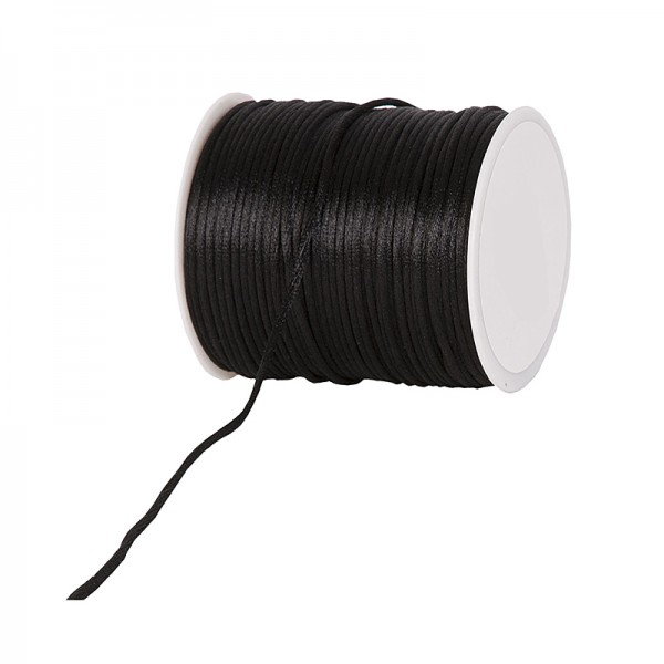 Satinkordel-Seidenkordel: 2mm Ø breit / 100m-Rolle, schwarz