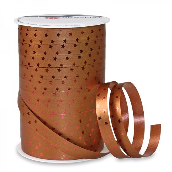 Poly-Ringelband GLOSSY-STAR: 10mm breit / 100m-Rolle, kupfer-rot.