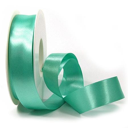 Satinband SINFINITY, türkis: 25mm breit / 25m-Rolle, mit feiner Webkante.