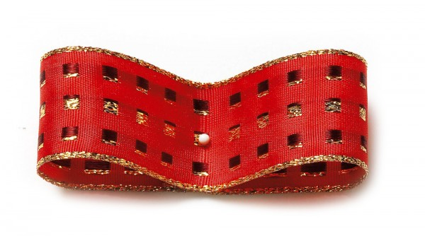 Dekorband-GLAMOUR, rot-gold: 38mm breit / 25m-Rolle, mit Drahtkante.