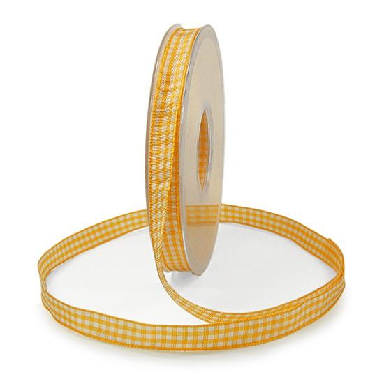 Landhauskaro, gelb-weiss: 10mm breit / 25m-Rolle