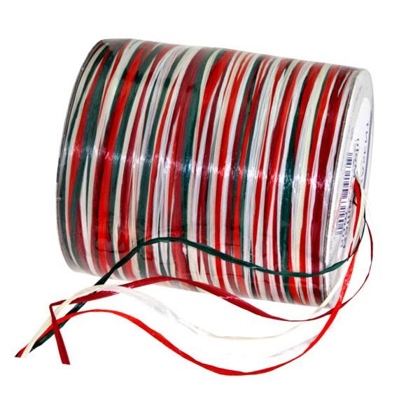 Raffia - Multi Bindebast, grün-weiß-rot: 10mm breit / 50m-Rolle