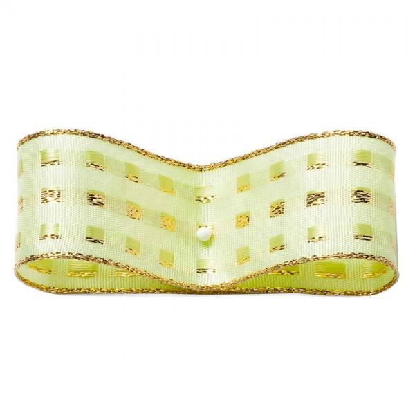 Dekorband-GLAMOUR, hellgrün-gold: 25mm breit / 25m-Rolle, mit Drahtkant