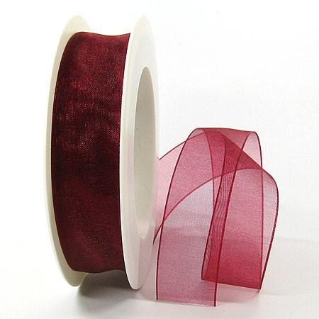 Organzaband, 25mm breit / 25m-Rolle, weinrot
