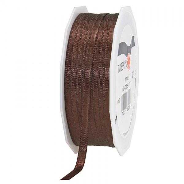 Satinband-PRÄSENT, dunkelbraun: 6mm breit / 50m-Rolle, mit feiner Webkante.