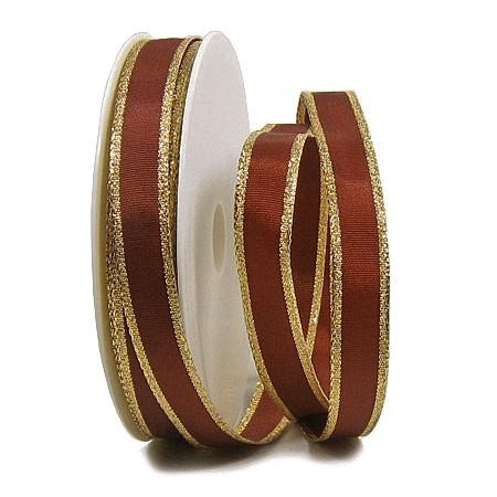 Dekorband-Classic: 15mm breit / 25m-Rolle, braun-gold