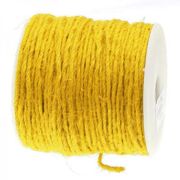 Jutekordel, gelb: 2mm breit / 100m-Rolle.