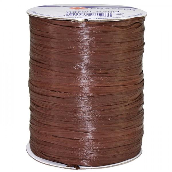 Raffia - RAYON, Bindebast: 10mm breit / 100m-Rolle, dunkelbraun