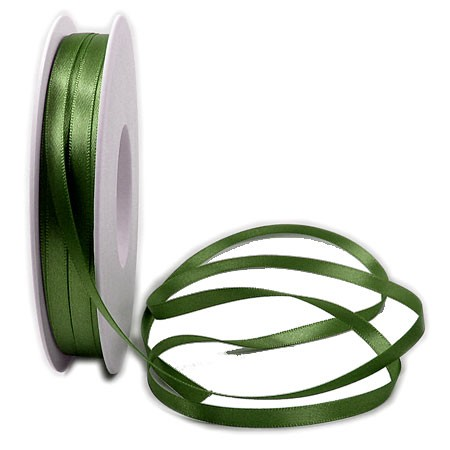 Satinband SINFINITY, moosgrün: 6mm breit / 50m-Rolle, mit feiner Webkante.