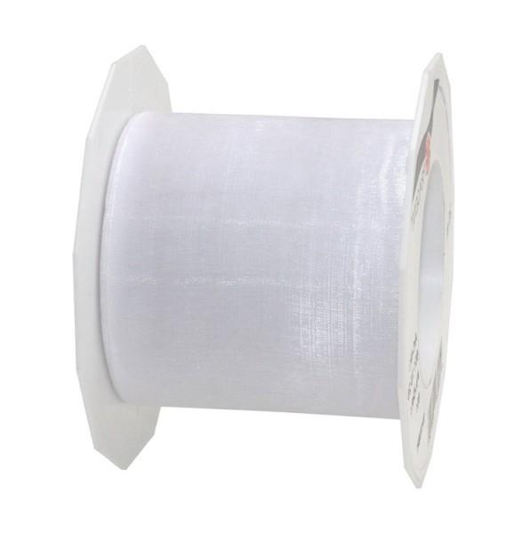 Organzaband-Sheer: 72mm breit / 25m-Rolle, weiss