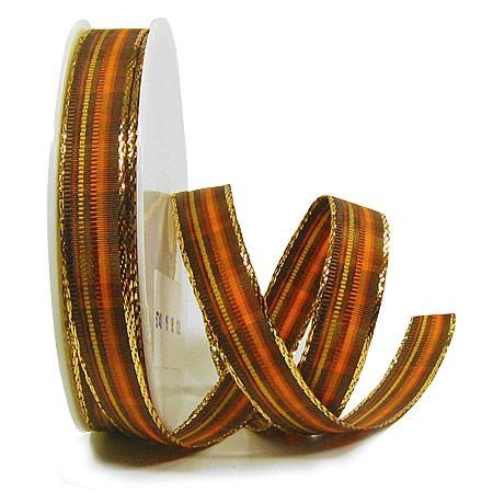 St. James: 15mm breit / 25m-Rolle, terra-braun-gold