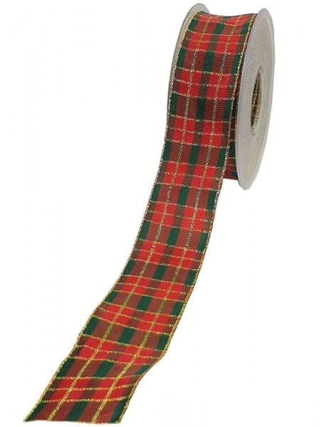 Weihnachtsband - KARO, rot-grün-gold: 40mm breit / 20m-Rolle, mit Draht- und Lurex-Goldkante.