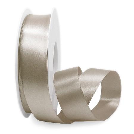 Satinband SINFINITY, taupe: 25mm breit / 25m-Rolle, mit feiner Webkante.