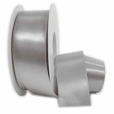 Satinband SINFINITY, silber-grau: 50mm breit / 25m-Rolle, mit feiner Webkante.