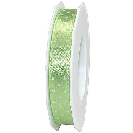 Pünktchenband, hellgrün: 15mm breit / 20m-Rolle