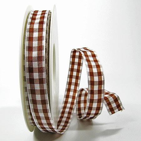 Karoband, braun-weiss: 15mm breit / 25m-Rolle