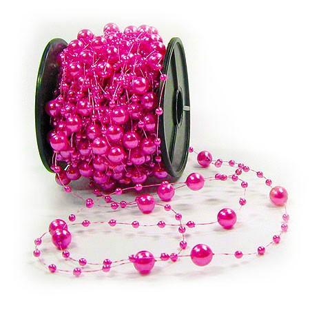 Dekoperlen, pink - 8mm breit / 10m-Rolle.