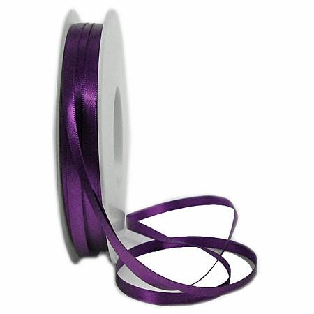 Satinband SINFINITY, violett: 6mm breit / 50m-Rolle, mit feiner Webkante.