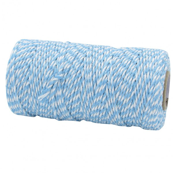 Bäckergarn, hellblau-weiß: 1,5mm breit / 100m-Rolle.