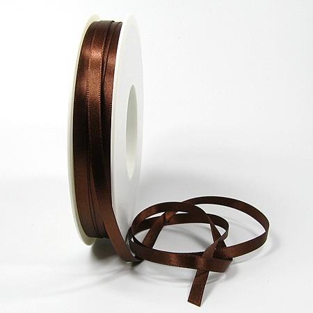 Satinband-SINFINITY, kaffeebraun: 6mm breit / 50m-Rolle, mit feiner Webkante