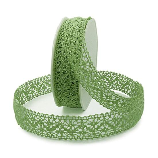 Häkelband, schilfgrün: 25mm breit / 10m-Rolle
