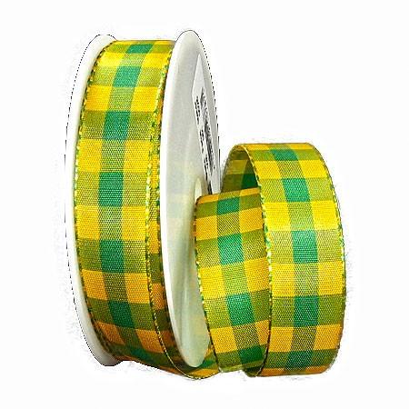 Karoband: 25mm breit / 25m-Rolle, gelb-grün