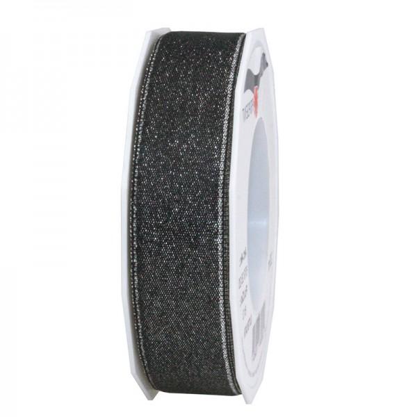 GLITTER-Satinband: 25mm breit / 20m-Rolle, schwarz mit Silber-Glitzer