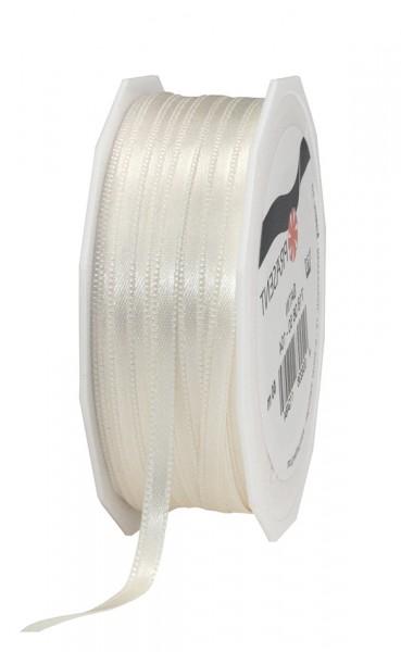 Satinband-PRÄSENT, champagner: 6mm breit / 50m-Rolle, mit feiner Webkante.